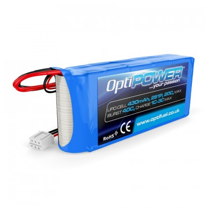 Optipower LiPo Cell Battery 430mAh 2S 20C / 40c Burst