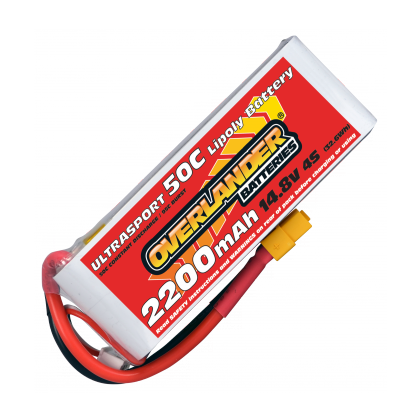 Overlander Ultrasport 2200mAh 4S 14.8v 50C LiPo Battery with XT60 - 3345