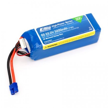 E-Flite 22.2volt 3200mAh 6S 30C LiPo with12AWG Lead and EC3 connector