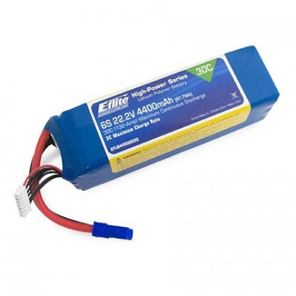 E-Flite 4400mAh 6S 22.2volt 30C LiPo 10AWG with EC5 Connector