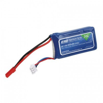 E-Flite 450mAh 2S 7.4v 30c LiPo With JST Connector EFLB4502SJ30