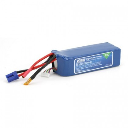 E-Flite 5000mah 6S 22.2volt 30C LiPo 10Gauge with EC5 Connector