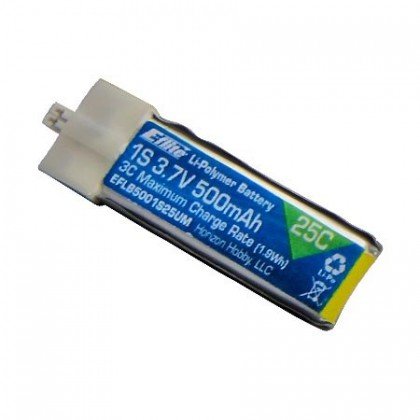 E-Flite 500mAh 1S 3.7v 25C LiPo High Current UMX Connector EFLB5001S25UM