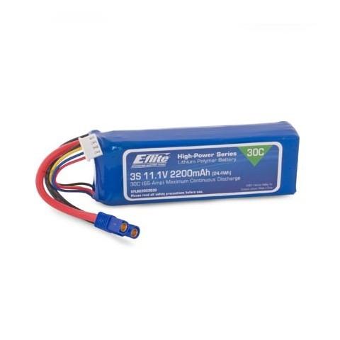 E-Flite 2200mAh 3S 11.1v 30C Lipo Battery With EC3 Connector EFLB22003S30
