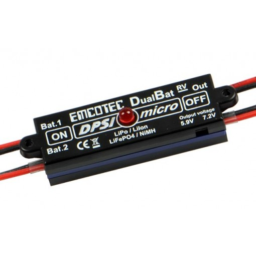 Emcotec DPSI Micro DualBat 5.9V/7.2V JR - dual power supply - MPS (Magnetic Power Switch) A11052