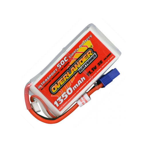 Overlander Ultrasport 1350mAh 3S 11.1v 50C LiPo Battery with EC3 2536