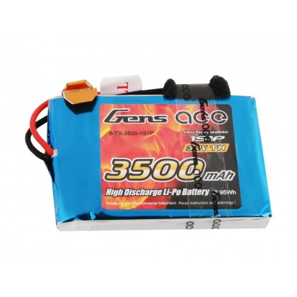 Gens Ace LiPo 1S 3.7V 3500mAh Tx with JR G1S3500-RX
