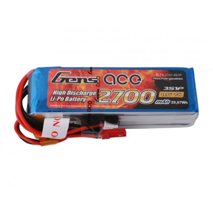 Gens Ace LiPo 3S 11.1V 2700mAh Tx with BEC G3S2700-B