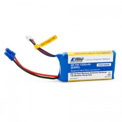 E-Flite 1300mAh 2S 7.4v 20C LiPo Battery With EC2 EFLB13002S20