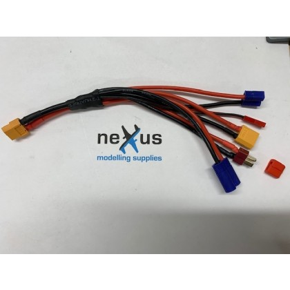 XT60 output - 5x Multi Charge Lead made with 12 & 14 AWG Silicone Wire from Electriflyer