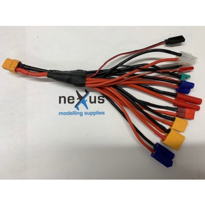 XT60 output - 11 x Multi Charge Lead made with Heavy Duty Silicone Wire from Electriflyer