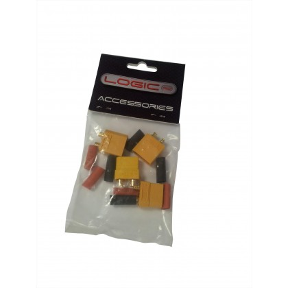 Logic RC XT90 Connector Set With Heat Shrink (2 Pairs)