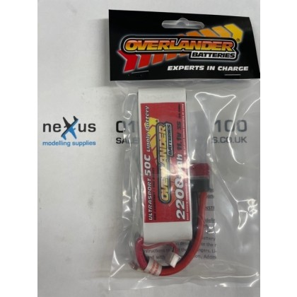 Overlander 2200mAh 3S 11.1v 50C Ultrasport Lipo Battery from Overlander Deans 3344