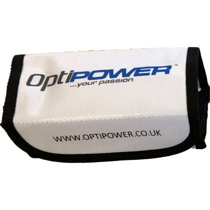OPTIPOWER LiPo bag for improved safety during charging of lithium cells. 16cm x 7.5cm x 6.5cm OPRLP5014SB