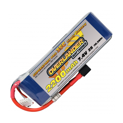 Overlander 2200mAh 2S 7.4v 35C Supersport Lipo Battery