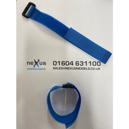 Velcro Battery Strap 300mm with Ring in Blue