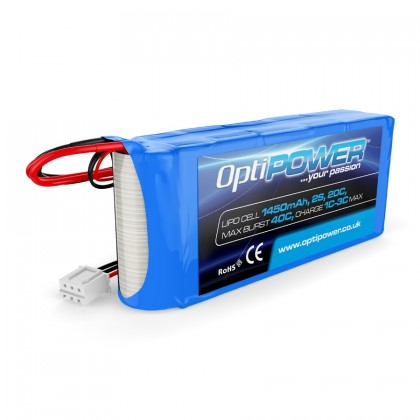 Optipower RX LiPo Battery 1450mAh 2S 20C OPR14502S With EC3 And JR Connector OPR14502S
