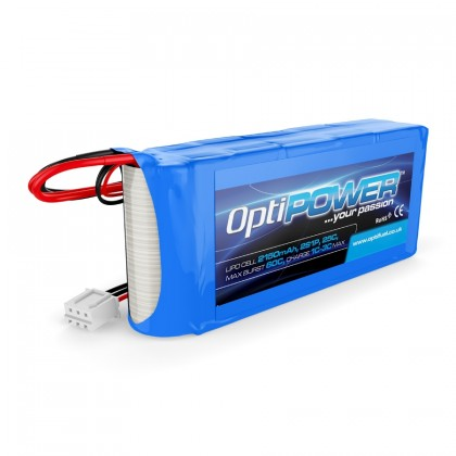 Optipower RX LiPo Battery 2150mAh 2S 25C With EC3 And JR Connector OPR21502S