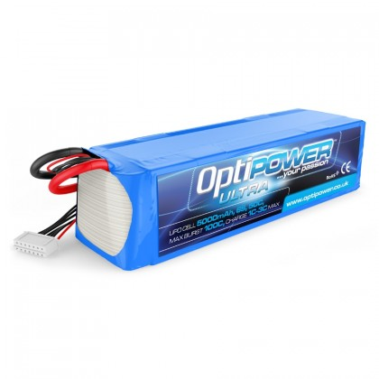 Optipower Ultra LiPo Battery 5000mAh 6S 50C OPR50006S50 fitted with a EC5 / IC5 Compatible Connector