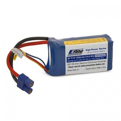 E-Flite 11.1v 1300mAh 3S 20C LiPo With EC3 Connector EFLB13003S20
