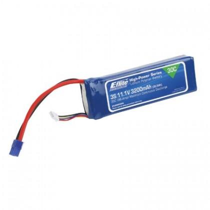 E-Flite 3200mah 3S 11.1volt 30C LiPo 12Gauge with EC3 Connector