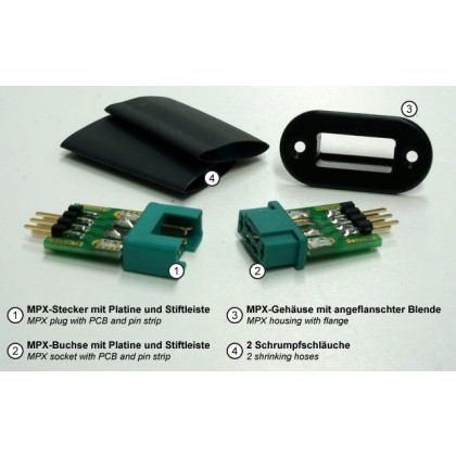 MPX connector with pin strip, plug & socket from Emcotec A85400