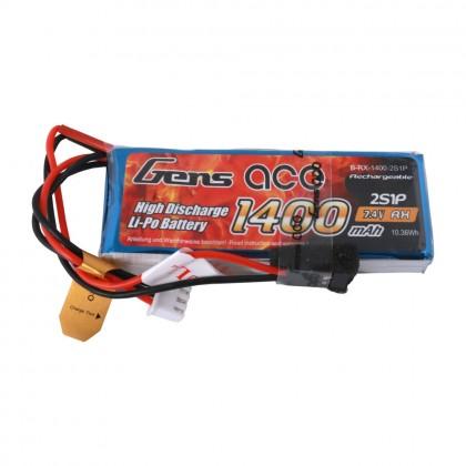 Gens Ace Li-Po 2S 7.4V 1400mAh RXC with Futaba Plug O-G2S1400-RX