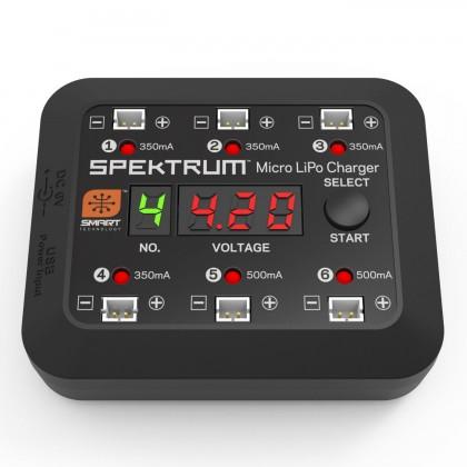 Spektrum S63 Micro 6-port DC/USB 1S LiPo Smart Charger SPMXC1060