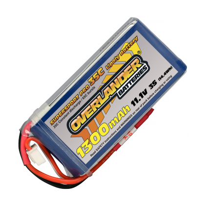 1300mAh 3S 11.1v 35C Supersport Lipo Battery from Overlander Deans Connector