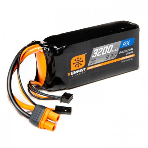 Spektrum 3200mAh 3S 9.9V Smart LiFe ECU Battery IC3 SPMX32003SLFRX
